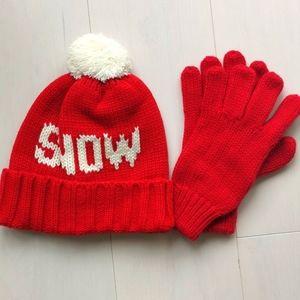 New Gap set knit hat beanie gloves